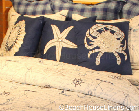 Shell Beaded Sealife on Navy Pillow