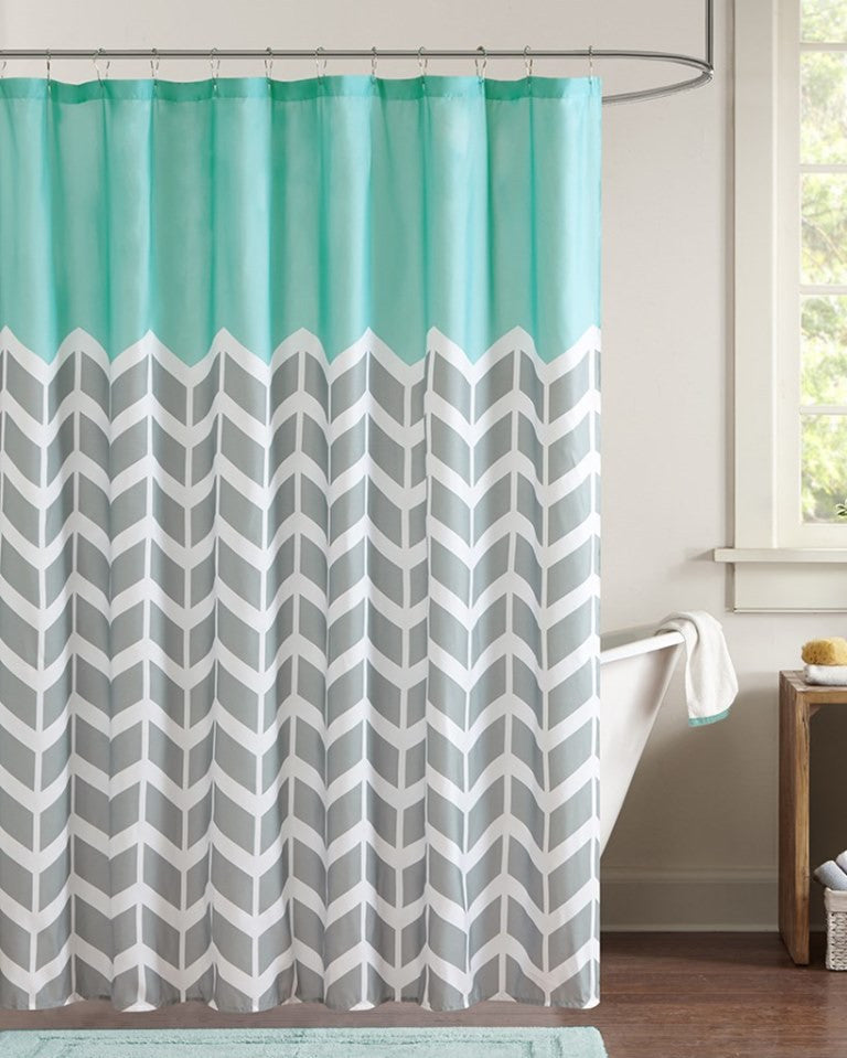Chevron Aqua Shower Curtain Beach House Linens