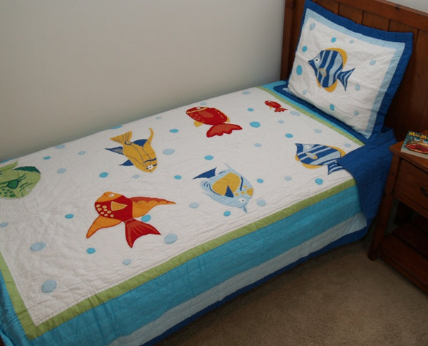 Colorful Sea Quilt Set Fish Quilt By Pem America Beach