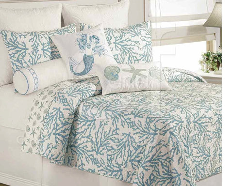 Cora Reversible Quilted Coverlet Blue