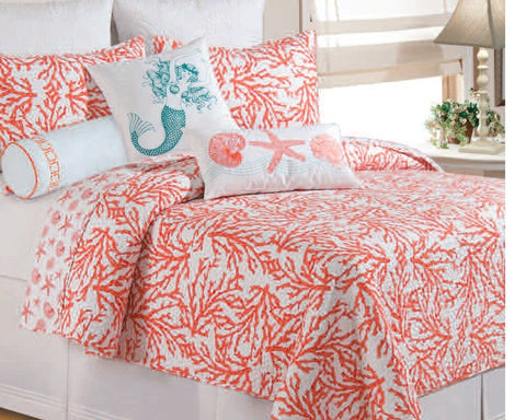 Cora Reversible Quilted Coverlet Coral