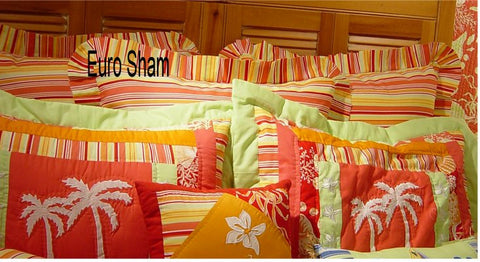 Coral Shells Striped Euro Sham