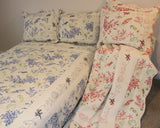 Coral Pieced & Embroidered Quilt Set