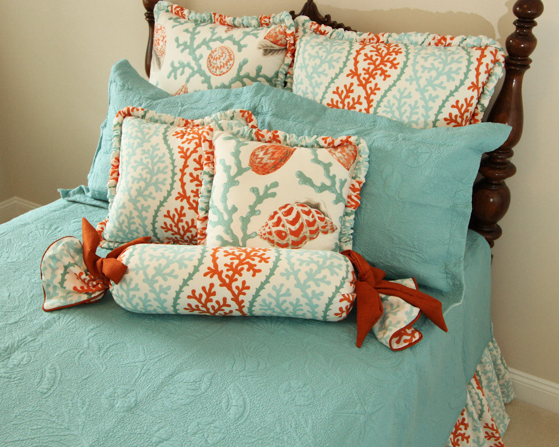 Shell Reversible Aqua Matelasse Coverlet