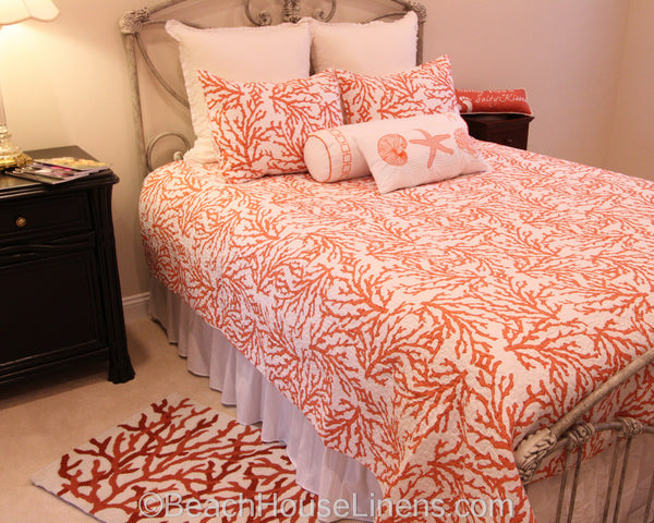 Cora Quilt Ensemble From C Amp F Enterprises In Color Coral