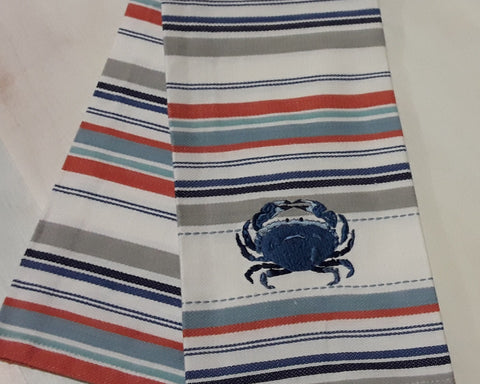 Blue Crab Heart Stripe Tea Towel
