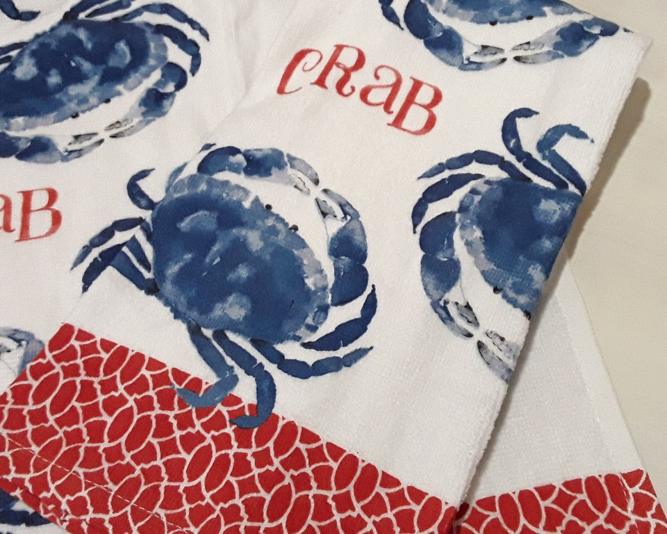 Blue Crab Heart Terry Kitchen Towel