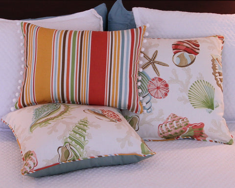 Deck Chair Stripe Pillow with Ball Fringe