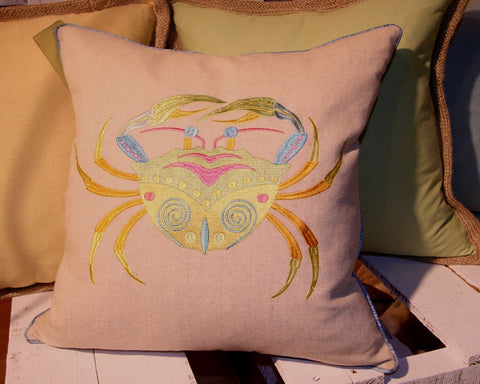 Embroidered Crab Linen Pillow