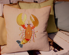 Embroidered Lobster Linen Pillow