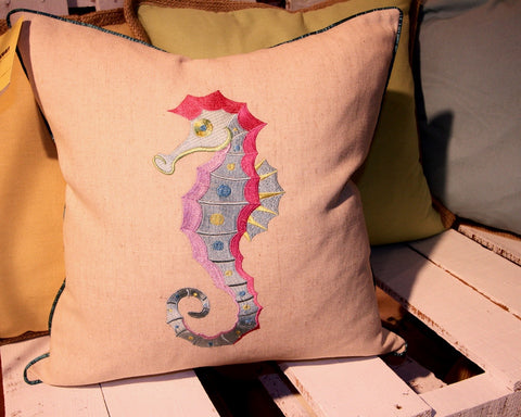 Embroidered Seahorse Linen Pillow