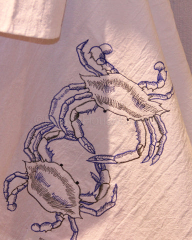 Embroidered Crabs Flour Sack Towel