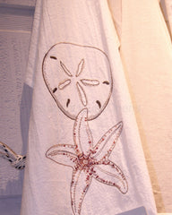 Embroidered Sand Dollar Flour Sack Towel