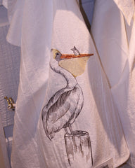 Embroidered Pelican Flour Sack Towel