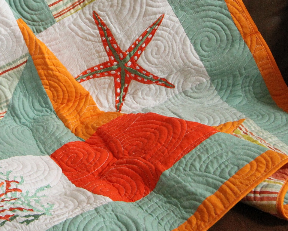 Fiesta Key Pieced and Embroidered Quilt