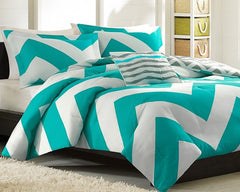 Giant Teal Chevron Comforter Set plus Pillow