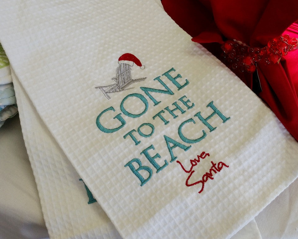 Gone to Beach Santa Kitchen Towel