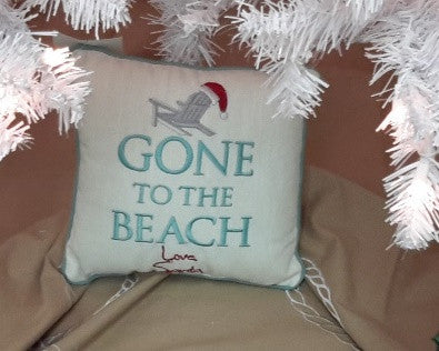 Gone to Beach Santa Pillow