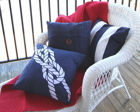 Knot on Navy Pillow