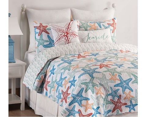 Kalani Starfish Quilt Set reversible to Wave Stripe, set includes Sham(s)