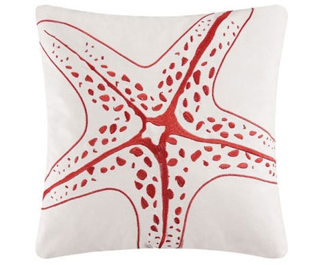 "Kalani Embroidered 16"" Starfish Pillow"