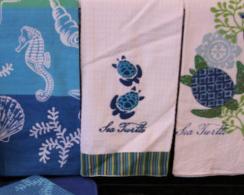 Sea Turtle Embroidered Waffle Kitchen Towel