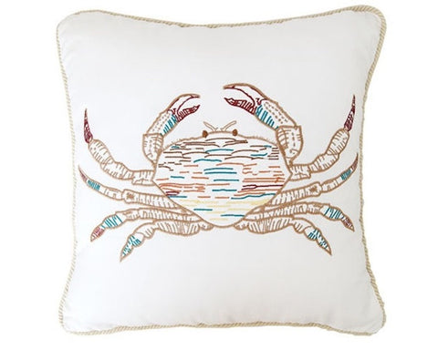 Key Biscayne Embroidered Crab Pillow