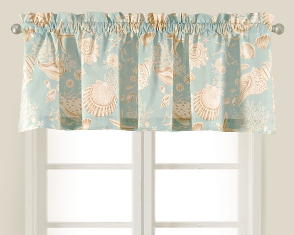 Natural Shells Taupe And Aqua Shell Valance From C Amp F