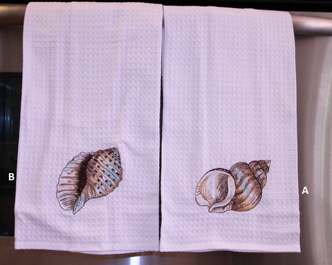 Shell Embroidered Kitchen Towel