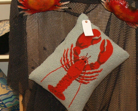 Red Hook Lobster on Blue Pillow