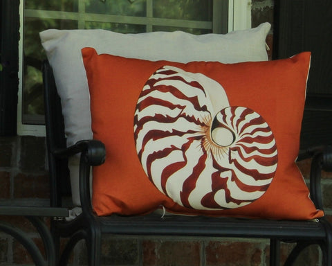 Orange Nautilus Outdoor Pillow