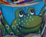 Frog Blue Outdoor Pillow