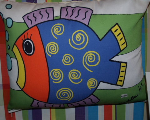 Fishy Purple Outdoor Pillow