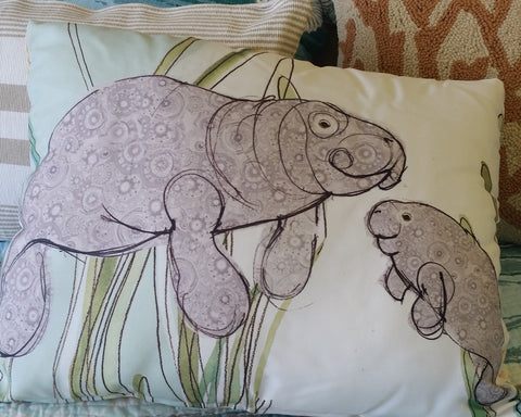 Manatees Indoor/Outdoor Pillow
