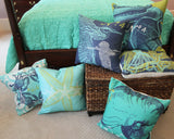 Starfish Aqua Feather and Down Pillow