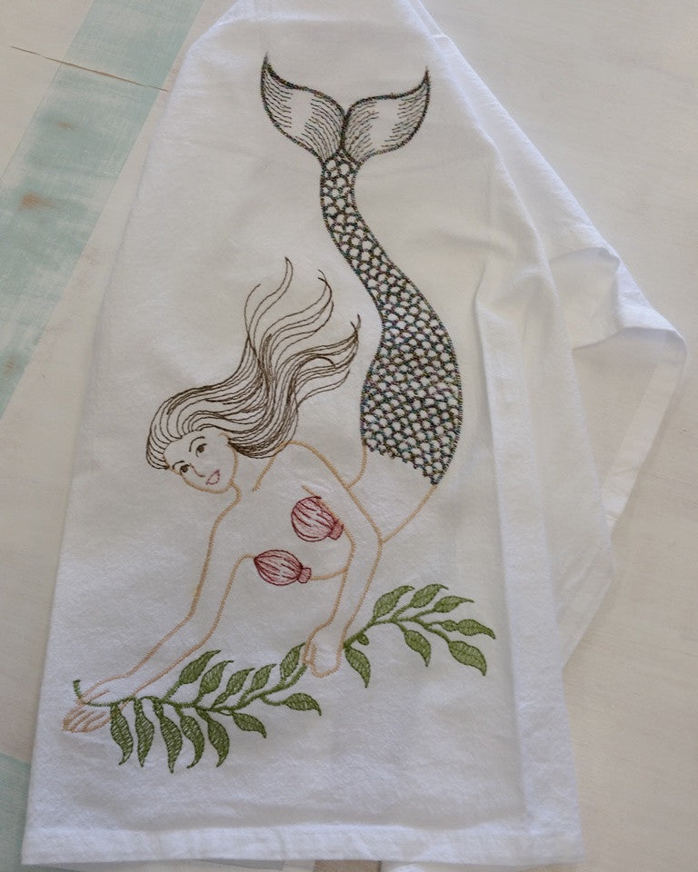 Embroidered Mermaid Flour Sack Kitchen Towel Beach House