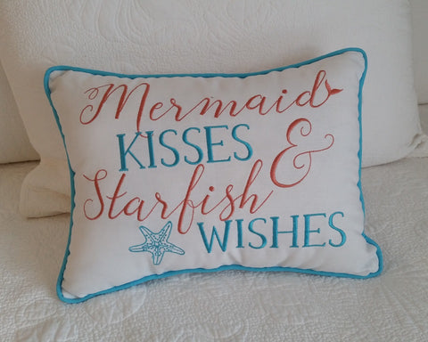 """Mermaid Kisses and Starfish Wishes"" Pillow"