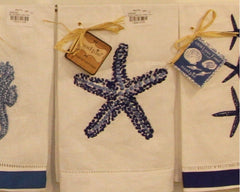Blue Starfish Linen Guest Towel