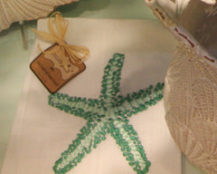Green Starfish Linen Guest Towel