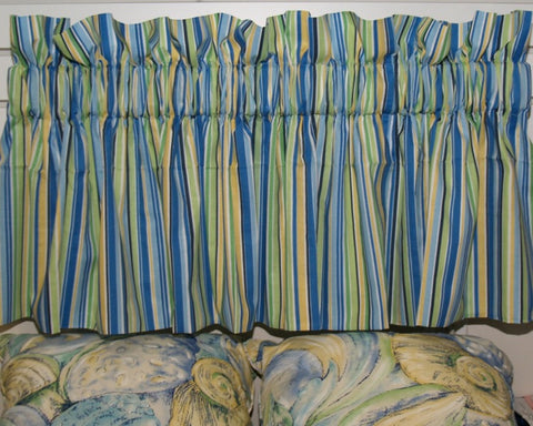 Multi-Blue Stripe Valance