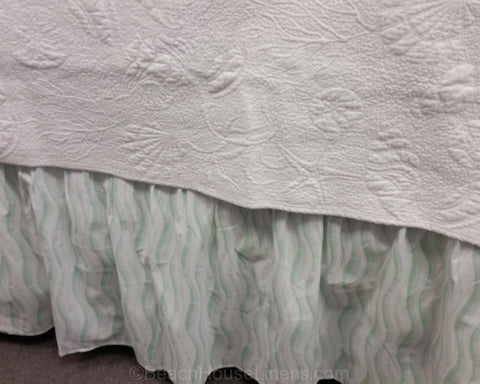 "Seaglass Waves 18"" Bedskirt"