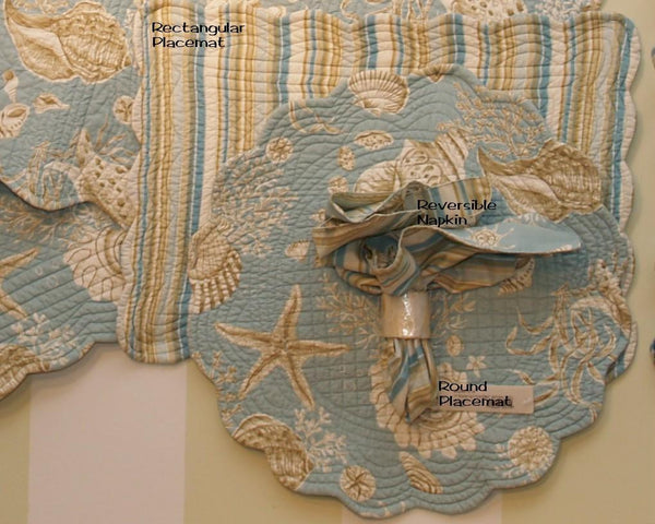 Natural Shells Placemats Napkins And Table Runners Beach House Linens
