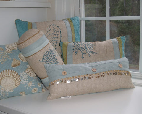 Natural Shell Shell Beaded Boudoir Pillow