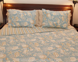 King Natural Shells Quilt on King Bed with 2 Standard Shams