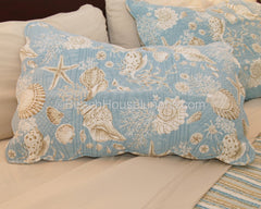 King Natural Shells Quilt on King Bed with Hemp Bamboo Sheets