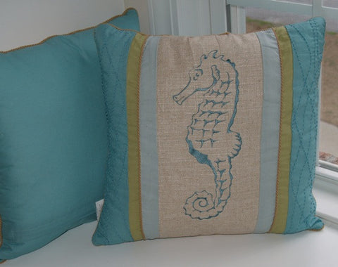 Natural Shell Seahorse Pillow