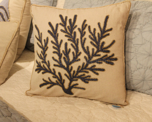 Creme With Navy Beaded Amp Embroidered Coral Pillow Beach