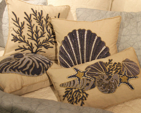 Navy Beaded & Embroidered Indigo Sound Shell Pillow