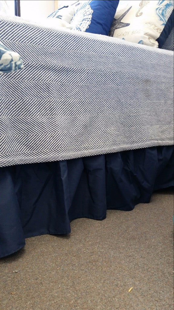 Navy Solid Options Bedskirt (length and style options)