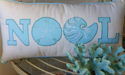 Noel Christmas Pillow in Aqua with Shells